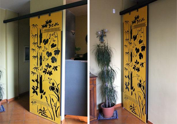 Porta scorrevole in plexiglass pannelli decorativi - Costruire porta scorrevole ...